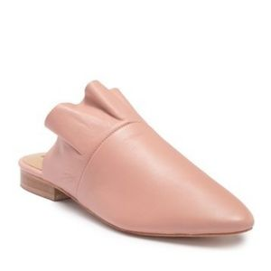 Free People Soft Pink Sienna Leather Ruffle Mule